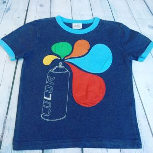 Mini Boden blue t-shirt with spray can applique design age 5-6